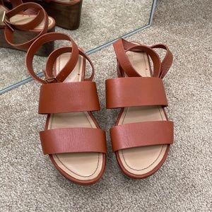 Elizabeth & James Bax Leather Wood Platform Sandal